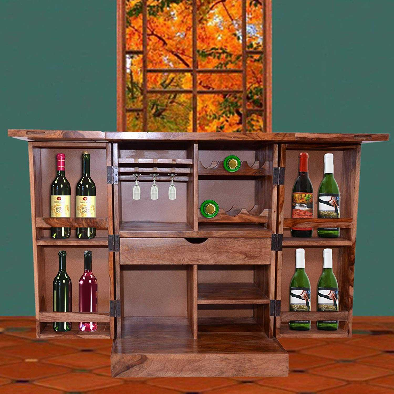 Sheesham Wood Bar Cabinets for Living Room with Drawer Storage Soft Drinks Storage Cabinets Wine Wisky Scotch All Type Drinks Bar Cabinet for Home Honey Oak Finish