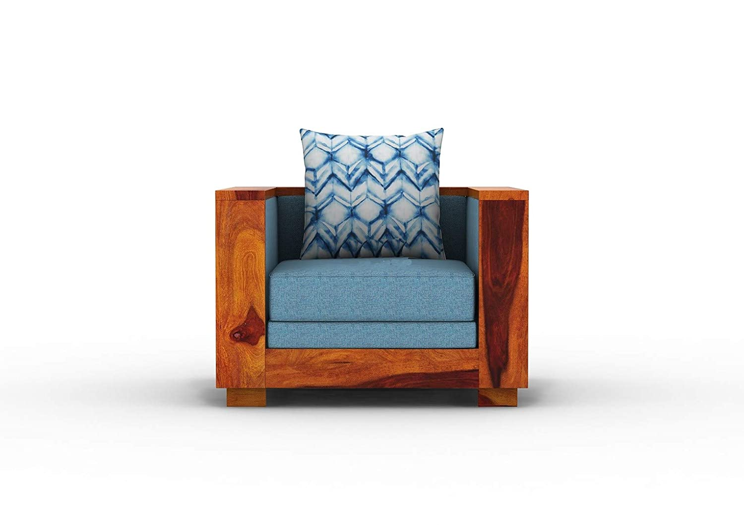 Lazina Sheesham Wood Sofa Set Living Room Furniture (3+1+1, Brown)- Honey Finish Blue Fabric