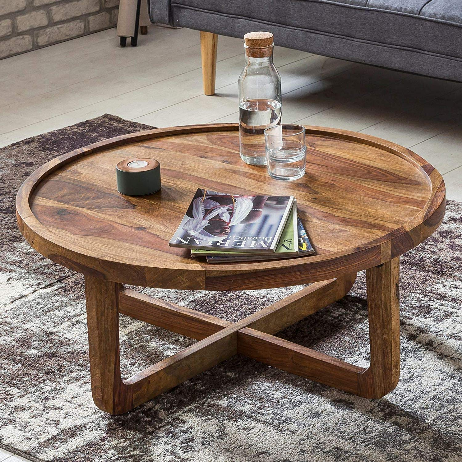 Samir/Indian Rosewood Round Center Coffee Table for Living Room Tea Table Furniture for Home