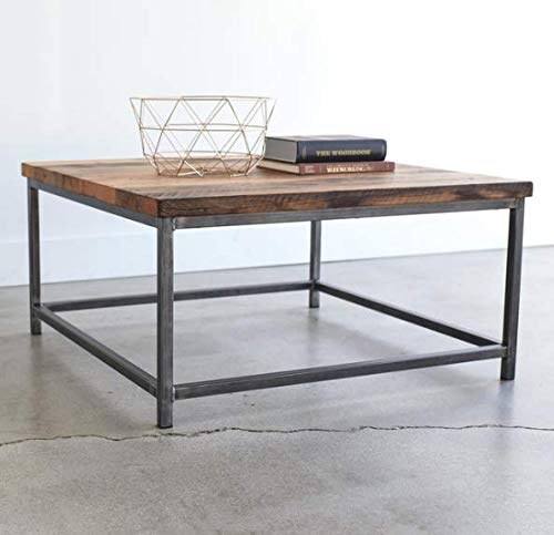 Flomy Wrought Iron and Wood Center Coffee Table for Home (Walnut Finish)