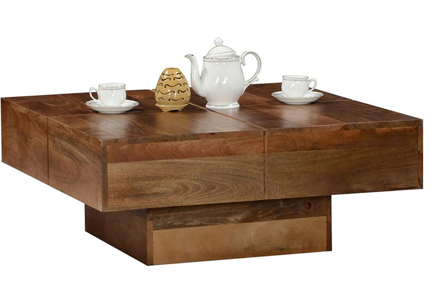 Fizzy Center Coffee Table for Home Living Room Furniture (Natural Finish)