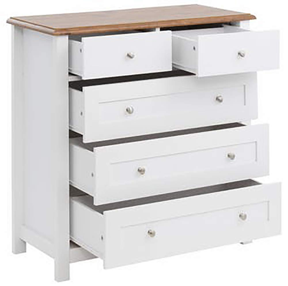 craft a to z Drawer Sheesham Wood Standing Chest of 5 Drawers for Living Room (White)