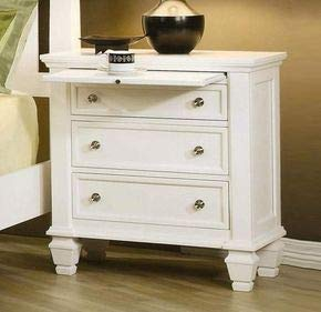 Lizkir Chest of 3 Drawers Storage Cabinet for Living Room Wooden Sideboard White Finish
