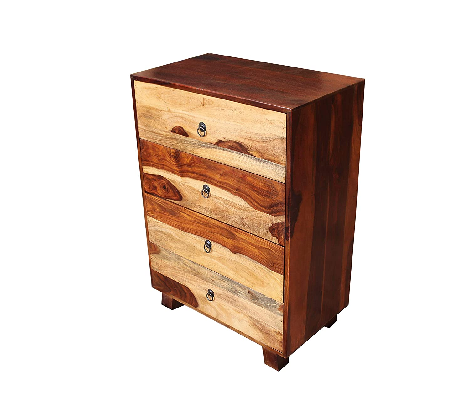 Tolmiz Chest of Four Drawers in Provincial Teak & Natural Finish by DHI Woodcrafts