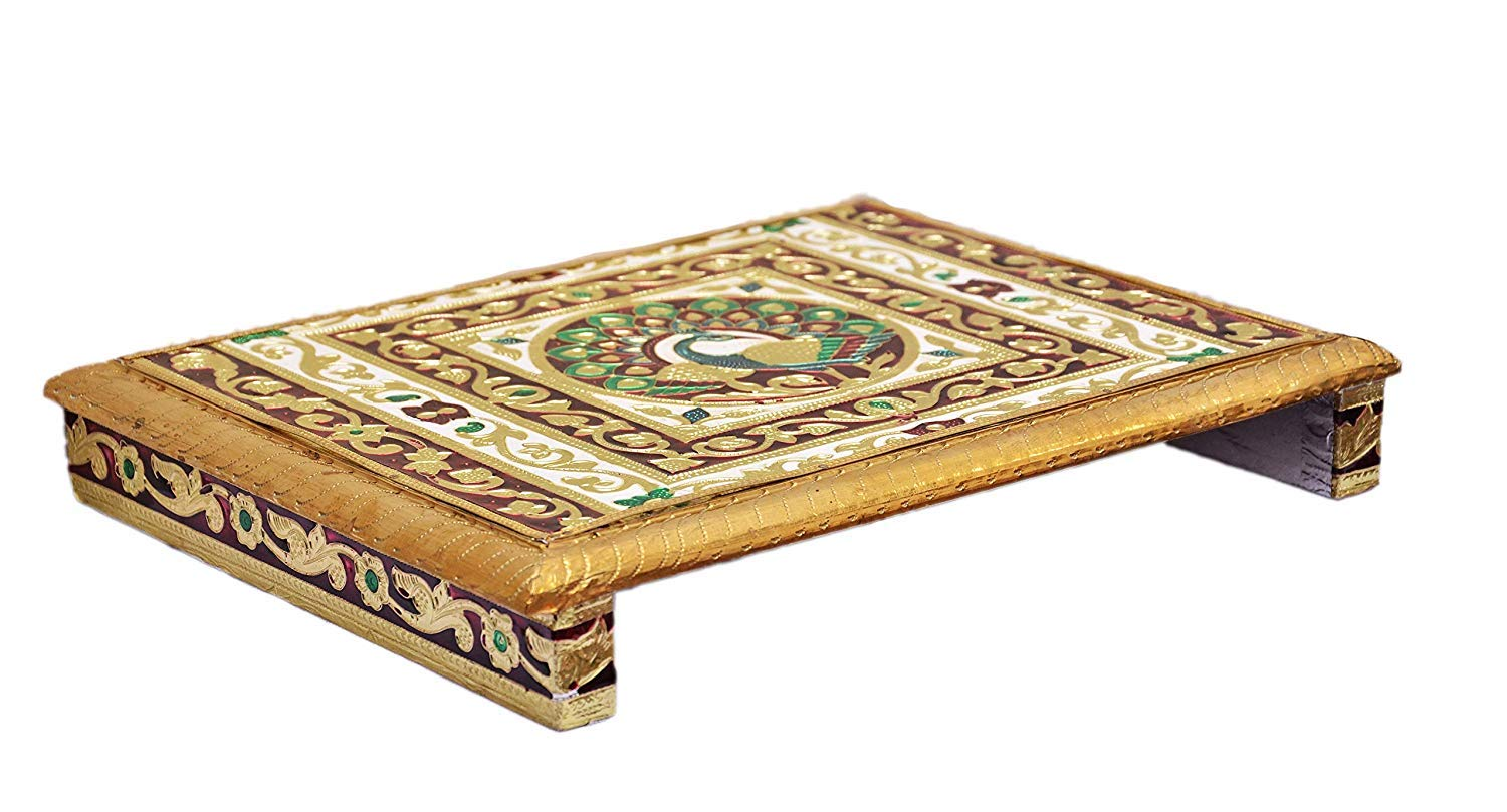 craftatoz Sheesham Wood Pooja Chowki (Multicolour, 30 X 22 X 6 Cm)