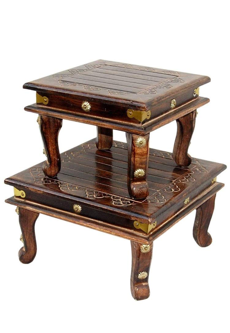 Aloonik Wooden Side Table/chowki Set for Pooja chowki
