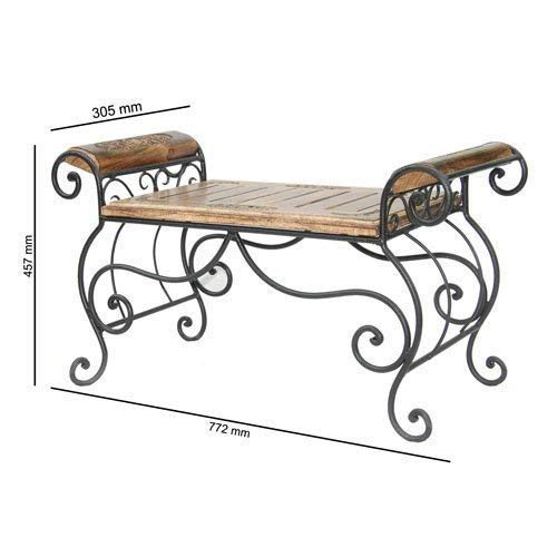 Zelizoy Wooden & Wrought Iron Center Table/Bench for Living Room/Lounge Furniture