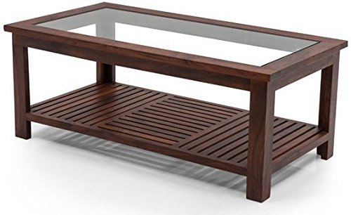 Dorim Coffee Table with Glass for Living Room Office,coffee table Walnut