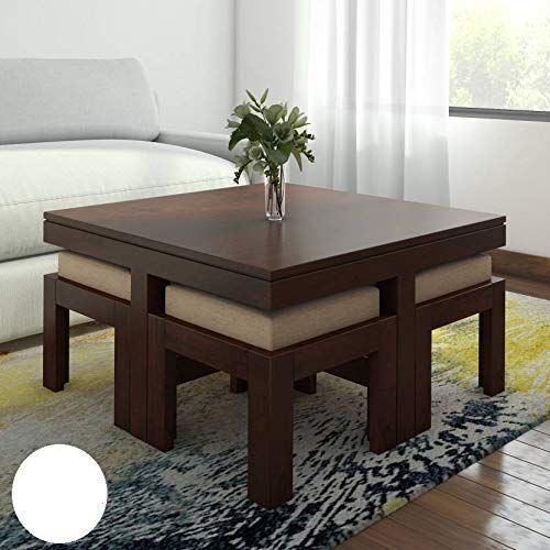 Mizla Indian Rosewood Coffee Table Center Table with 4 Stool - Espresso Finish with Cushion for Living Room