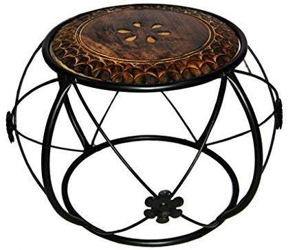 Dizla Wrought Iron and Wooden Center Table for Living Room, Coffee Table - Black & Brown