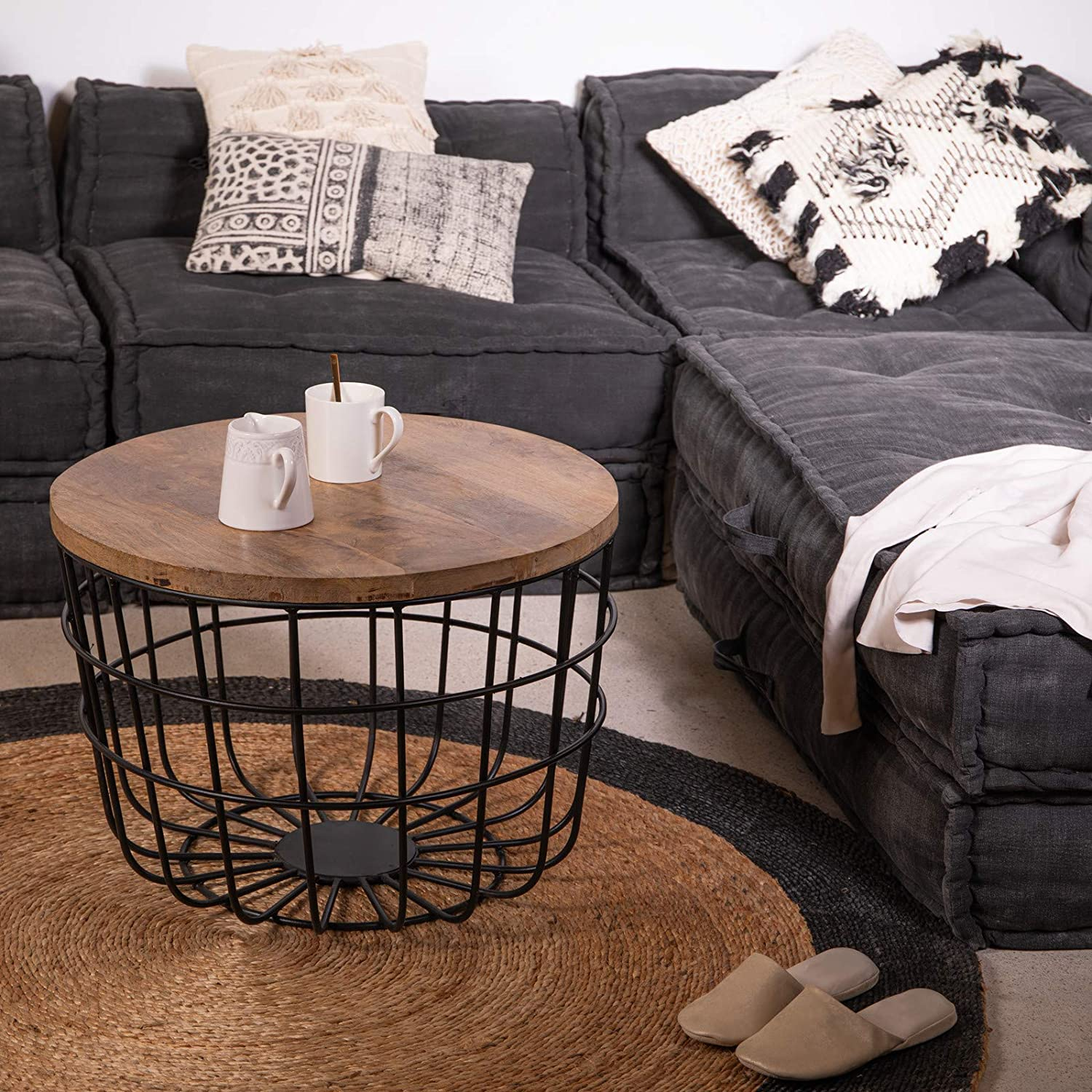 Migli Wooden Round Coffee Table for Living Room Tea Table for Living Room Central Table by Priti Size:-61x61x44 cm