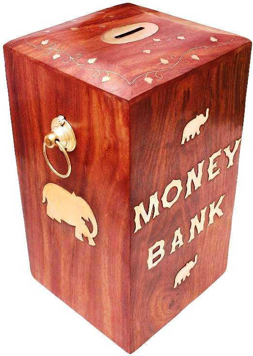 Sheesham Wood Wooden Money Bank Big Size for Adults 10x6 Inches