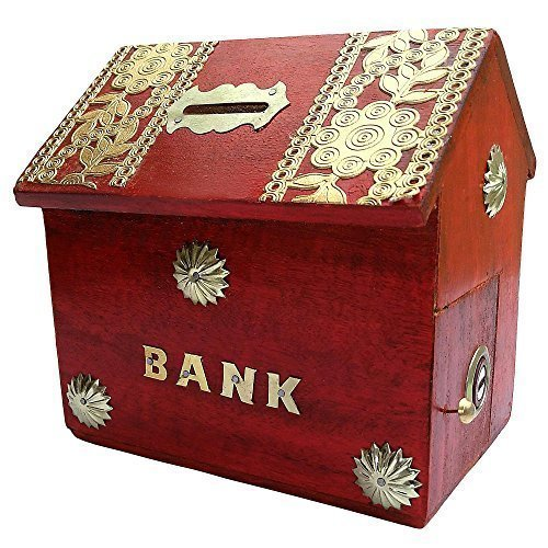 Kozol Wooden Money Bank - Coin Saving Box - Piggy Bank - Gifts for Kids, Girls, Boys & Adults