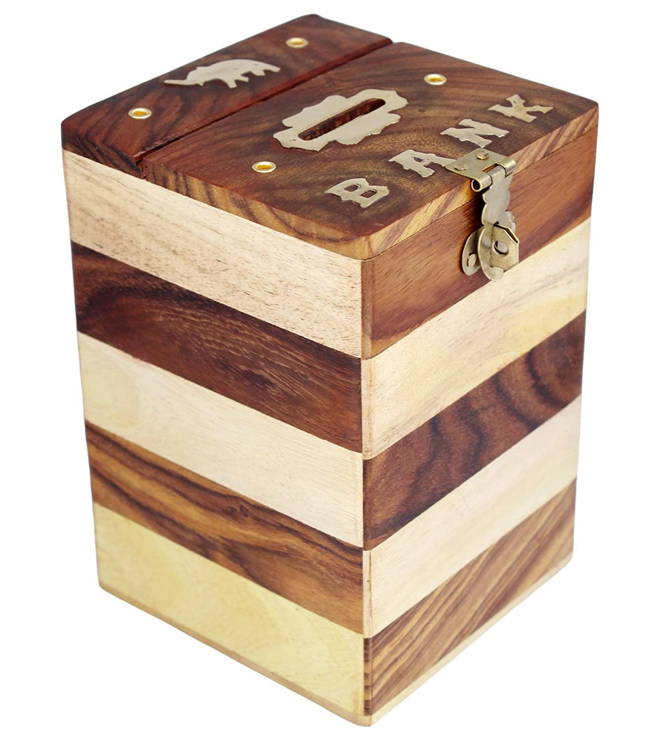 Mango wood Wooden Piggy Bank - Money Bank - Coin Box - Money Box - Gift Items for Kids