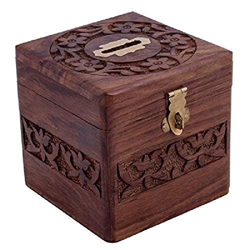 Sheesham wood Wooden Money Bank, Coin Holder, Piggy Bank (Brown)