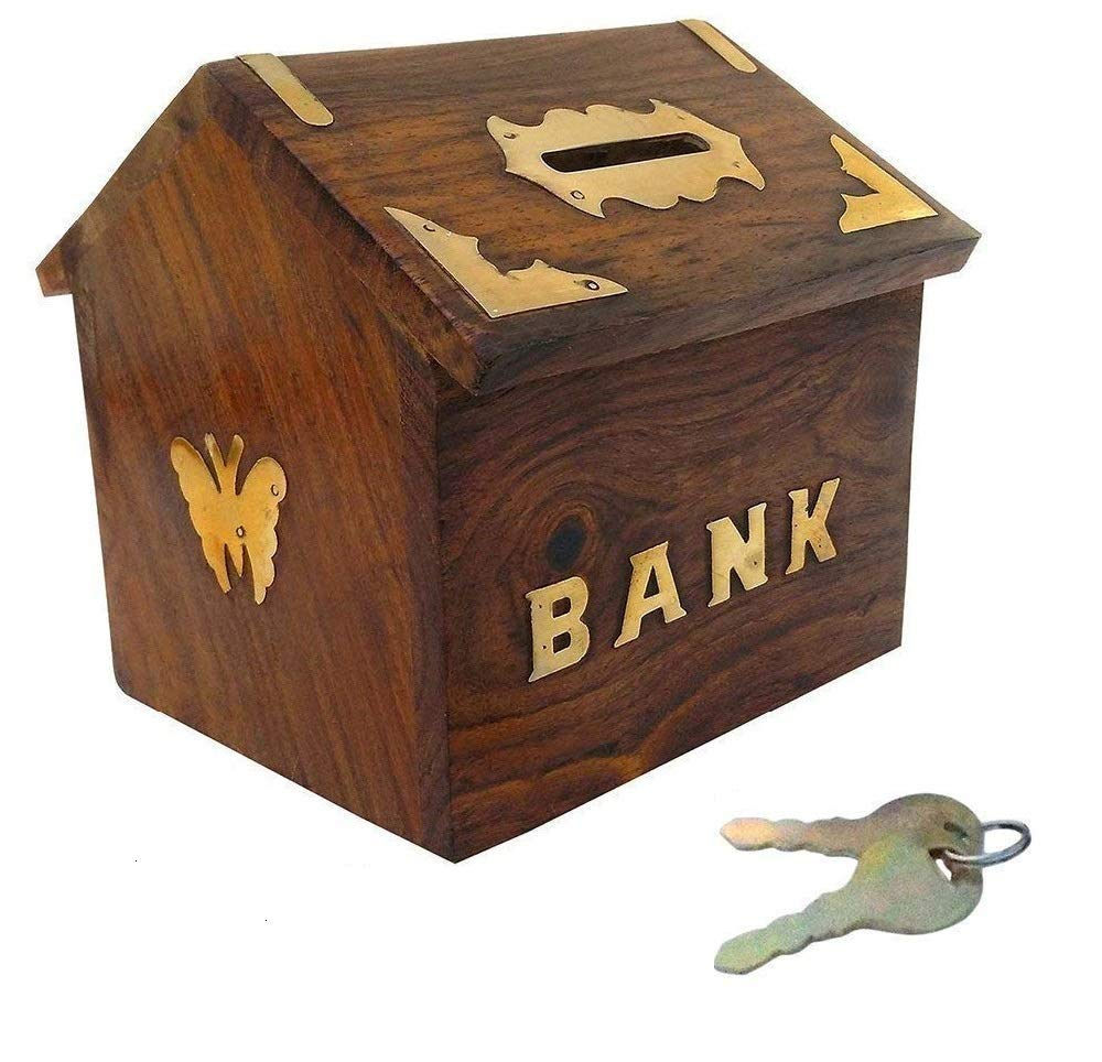 Sheesham wood Hut Shaped Wooden Money Box with Lock Piggy Bank Coin Box Children Gifts