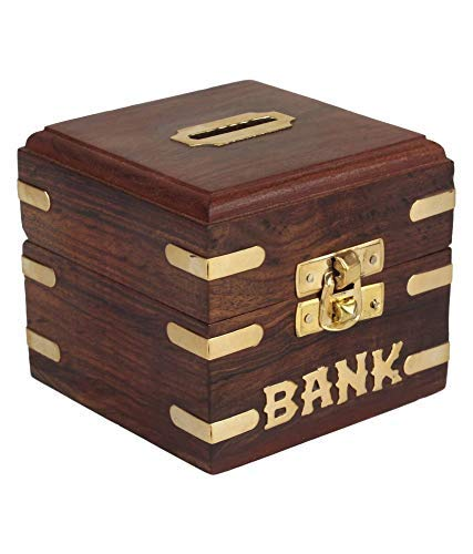 Sozol Wood Handicraft Small Coin/Money/Piggy Bank Saving Box. - (Gift for Kids Boys/Girls Made with Rosewood Wooden Brass Inlay Work)(ISM138)
