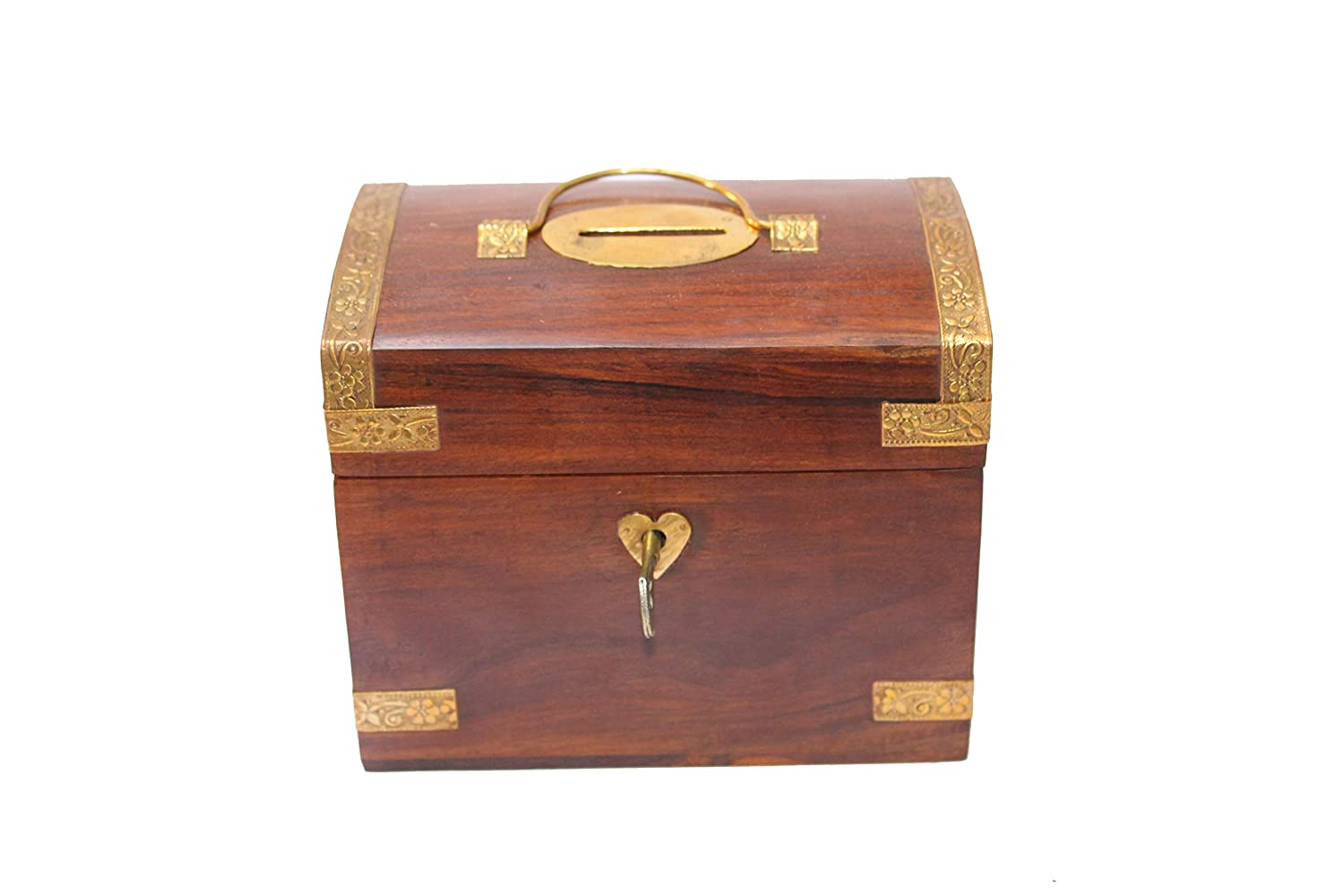 Sheesham wood Wooden Treasure Chest Design Money Bank/Coin Saving Box /Piggy Bank /Gifts for Kids, Girls, Boys & Adults (Brown , 5.25x3.25x4.25 Inches)