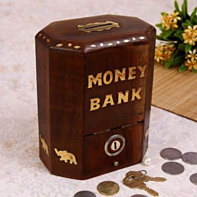 Fozol Wooden Money Box Octagonal with Lock Sheesham with Brass Elephant Inlaid Each Side Long Special
