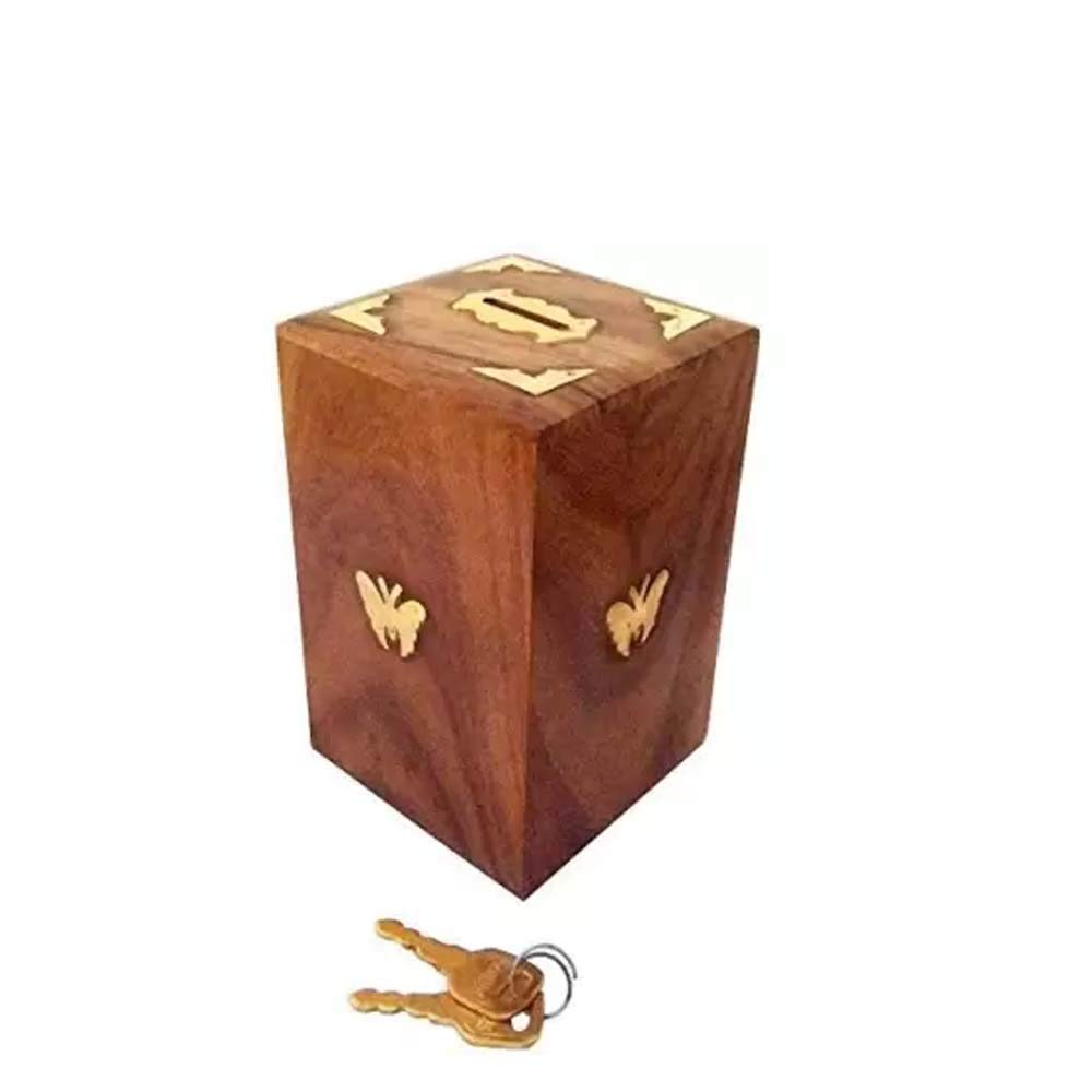 Sheesham wood Wooden Money Bank Handmade Coin Holder for Kids