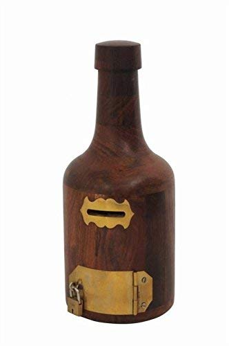 Gozol Wooden Bottle Shape Money Bank / Coin Saving Bottle for Kids
