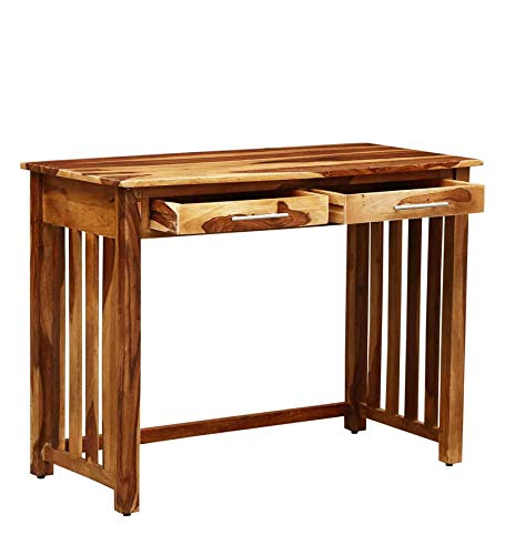 craft a to z Solid Sheesham Wood Study and Writing Tables for Offices and Home with 2 Drawer Natural Brown
