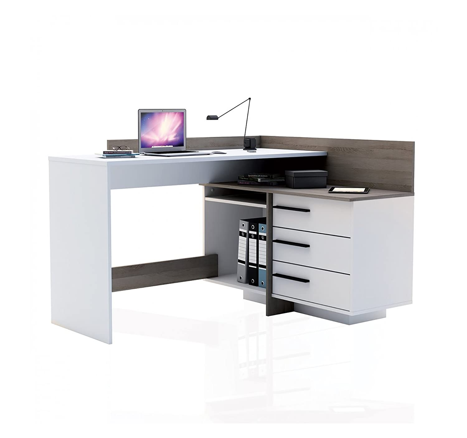 Anoza Wooden Munich Study Desk Table for Home and Office  Brown & White Finish