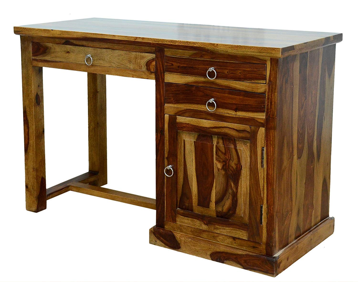 Lomini Wooden Three Drawer Storage Computer Table Study Desk for Home (Provincial Teak Finish)