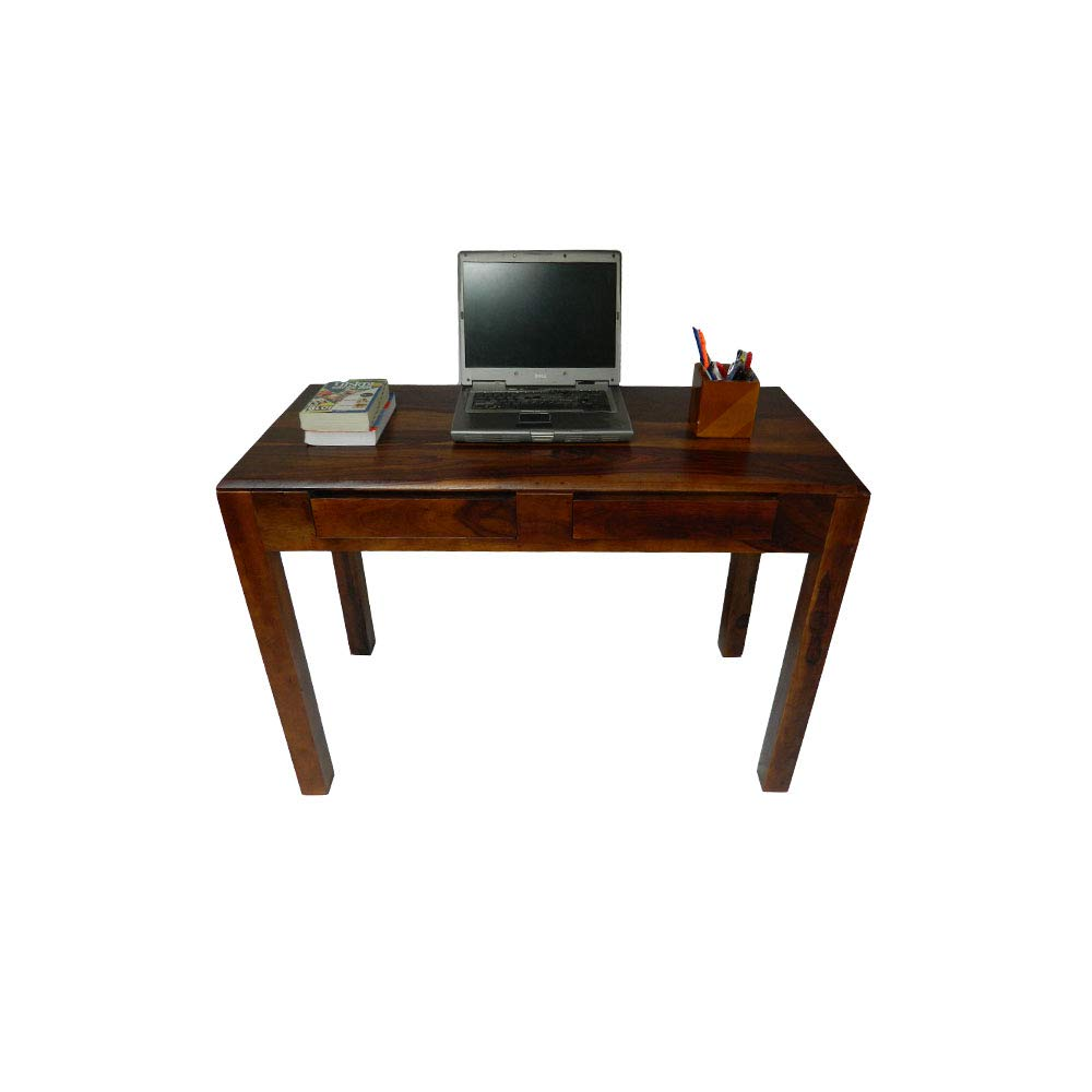 craft a to z Sheesham Wood Writing Study & Computer Table for Home and Office 2 Drawer Storage (Brown Walnut)