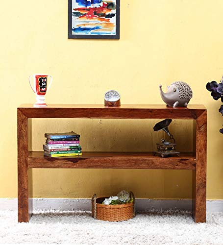 Zonpik Console Table for Living Room Side Table for Living Room Shelf Storage Teak Brown Finish