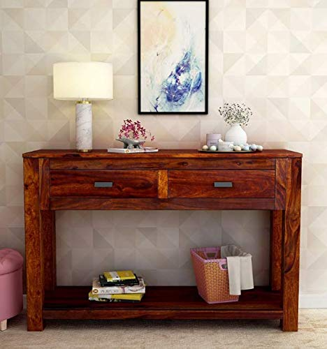Solzim Console Table for Living Room 2 Drawers & Shelf Storage Honey Brown Finish