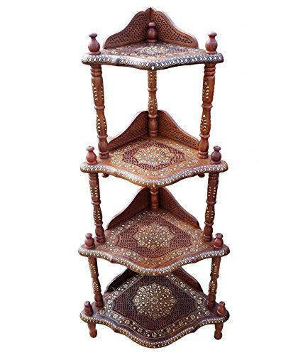 Solmiak Wooden 4-Shelf Corner Rack with Fine Jali Copper Brass Work