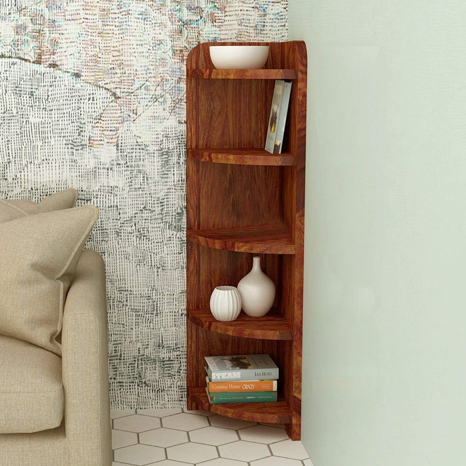 Miskoe Teak Brown Finish 5 Tier Corner Wall Shelf for Living Room
