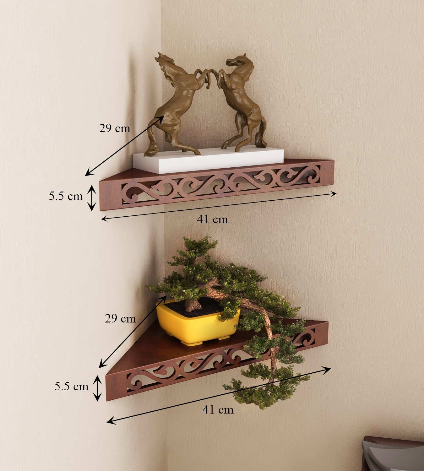 Kyubhi corner shelf for kitchen/ Living Room /Office and Bedroom Set of 2