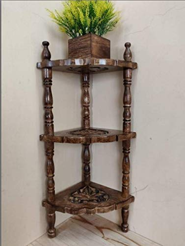 Tomsak Wooden Folding 3-Tier Corner Shelves for Home Decor Multipurpose Display Stand