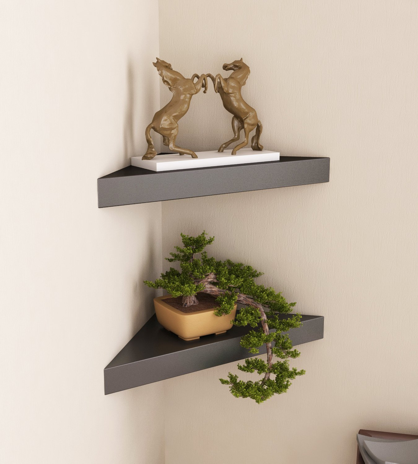 Saket corner shelf design Triangular Shaped Corner Wall Shelves for Living Room Office and Bedroom