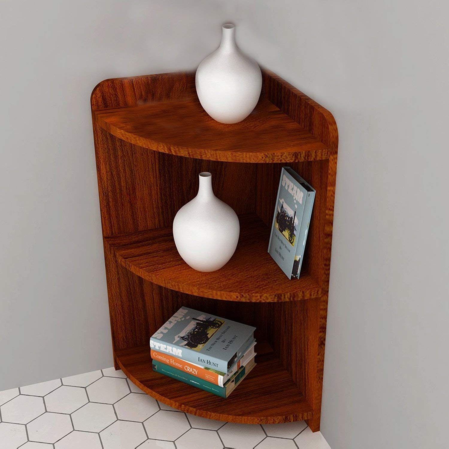 saibdi corner shelf for living room 3 Tier Corner Wall Shelves