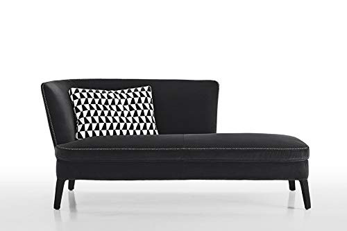 Shotin Wooden and Fabric 3 Seater Lounger Sofa for Home (Black)