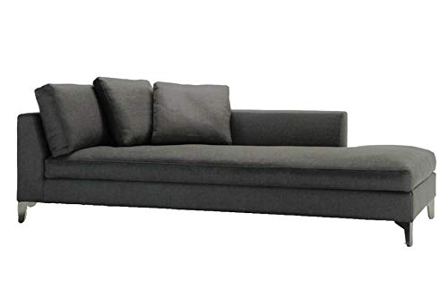 Holmin Wooden and Fabric 3 Seater Lounger Sofa for Living Room Home (Dark Grey)