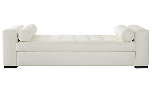 Palsom Wooden and Leatherite Lounger Sofa for Living Room (Off White)