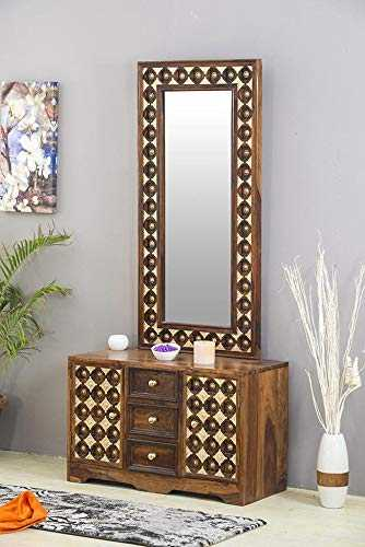 Jurkine Dressing Table with Mirror for Bed Room(Walnut)