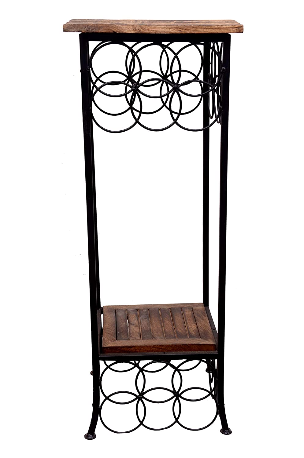 Corsil Wrought Iron End Table ,end table for living room(Brown,)