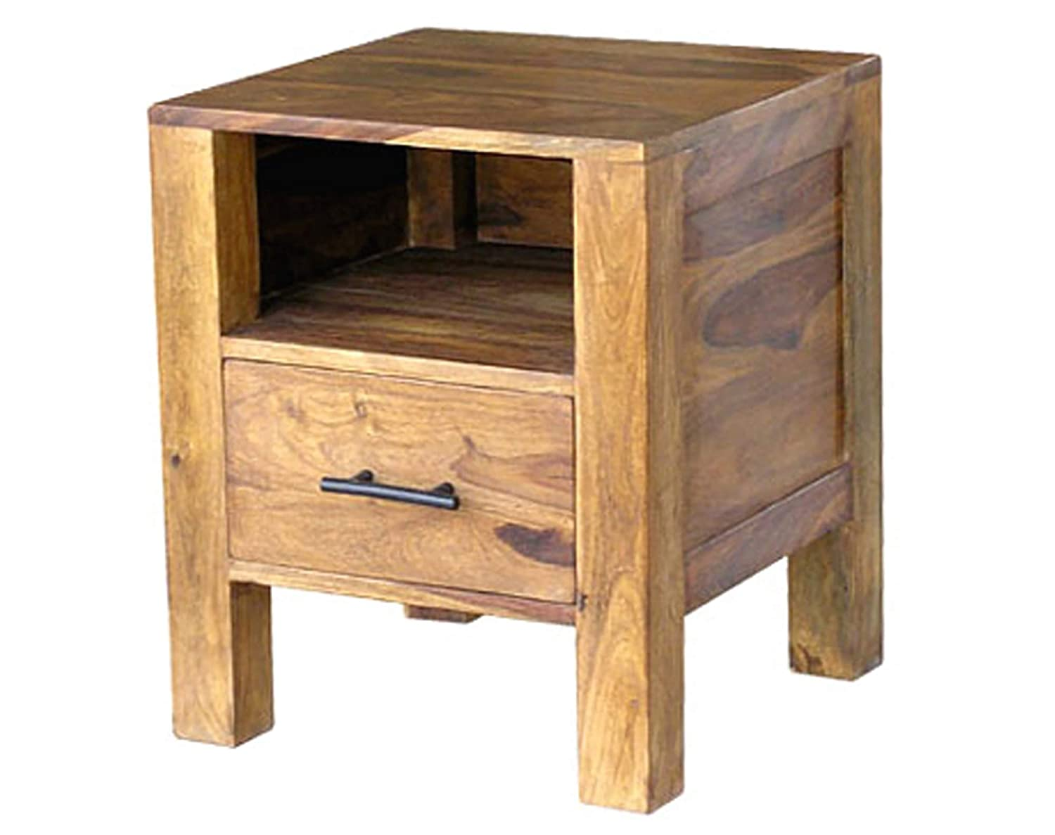Kloob Furniture Bedside End Tables with 1 Drawer for Living Room (Honey Finish) Specially Designed Quality Certified Furniture For Home Living Room Bedroom Guest Room And Corporate Office Collection