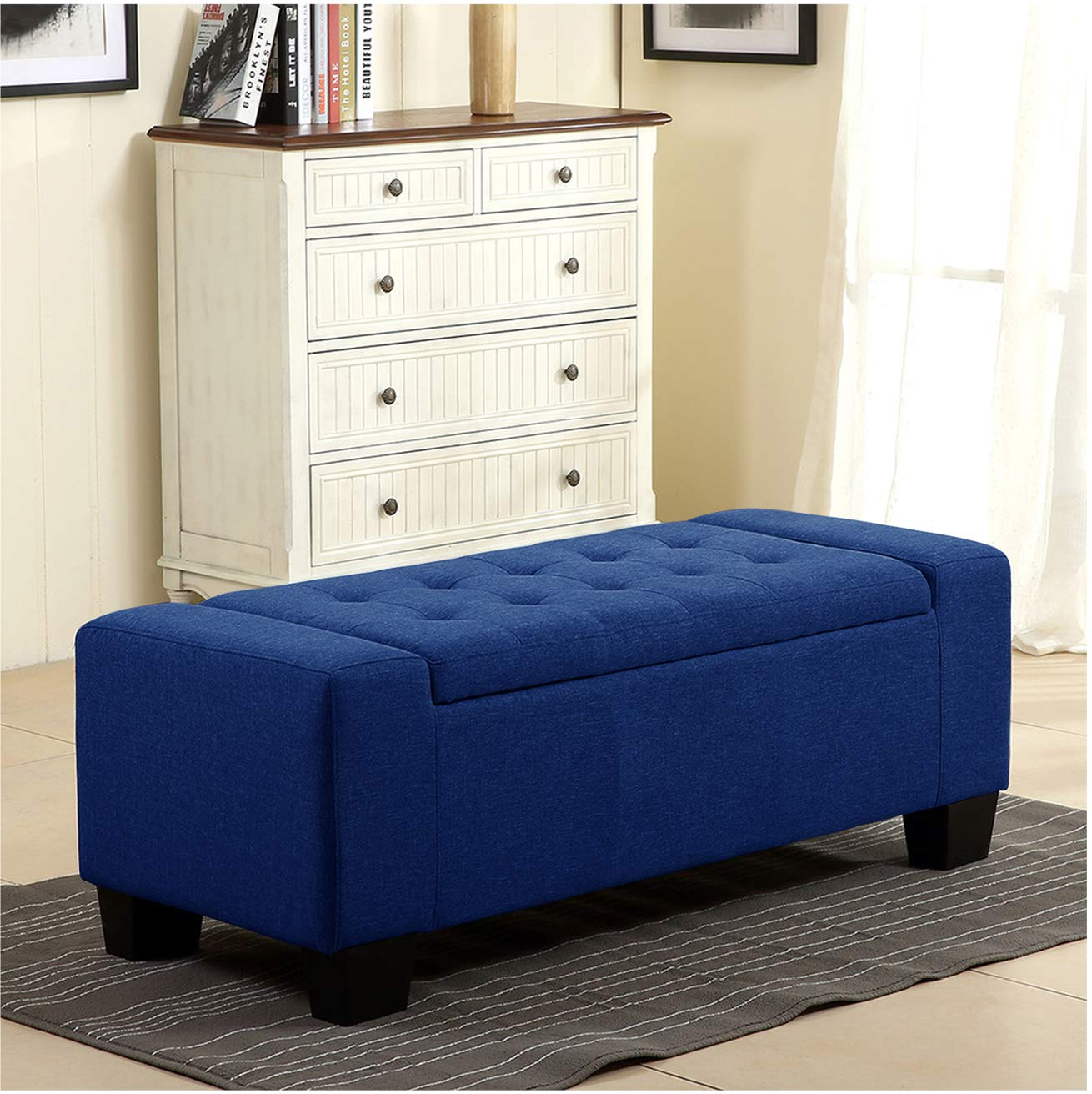 Lozon Fabric Wooden Bench Sofa for Living Room Blue Color