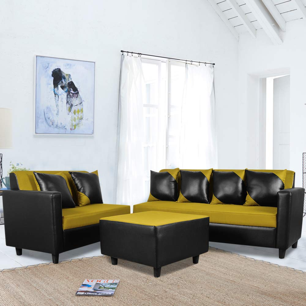 modbly l shape sofa design  Butterfly Sofa Set [Colour - Black Green]
