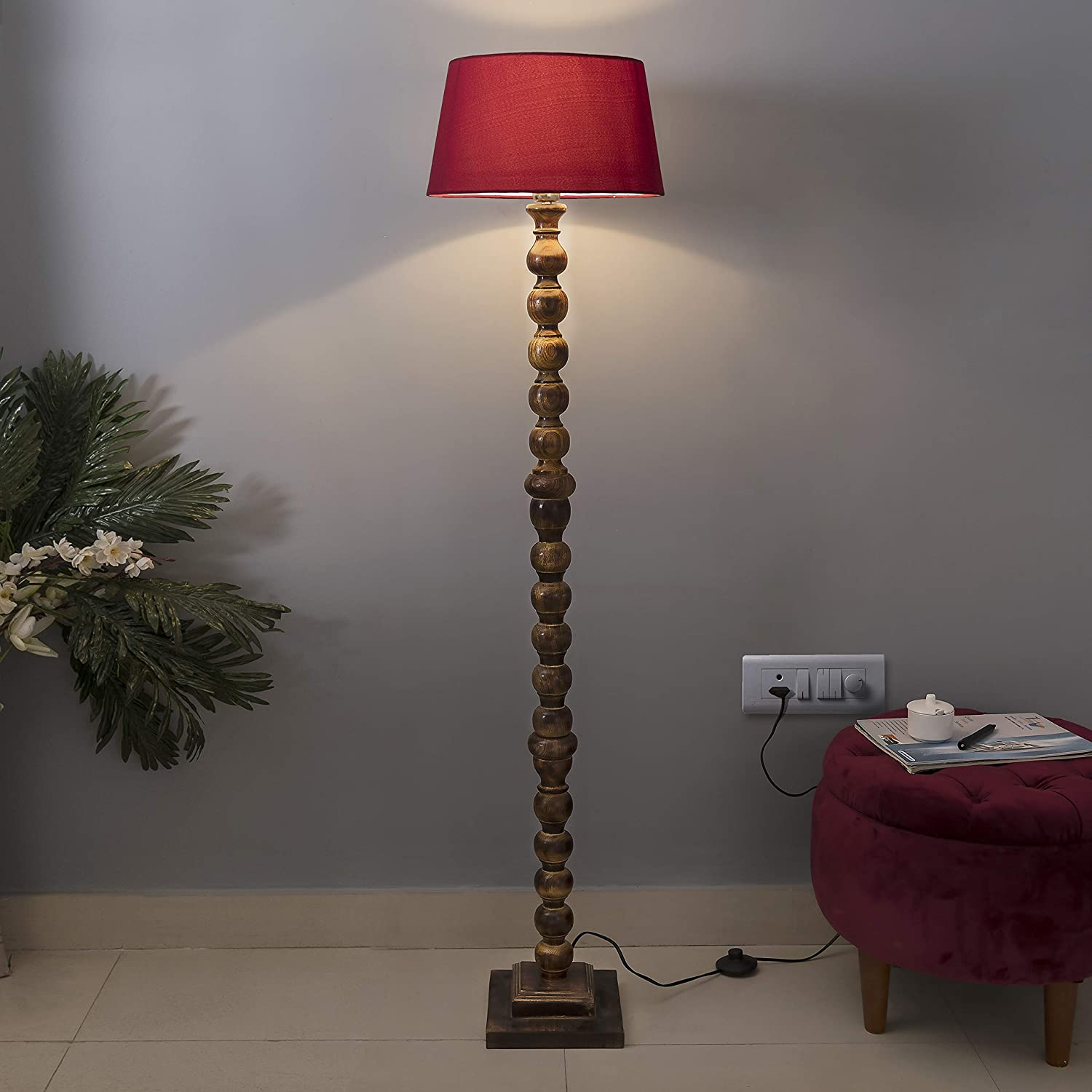 Mugal Wooden Floor Lamp with Shade