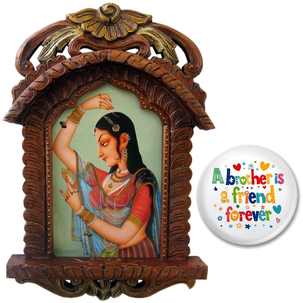Lazkeb Wooden Lady Bani Thani Jharokha and Fridge Magnet (Design 1)
