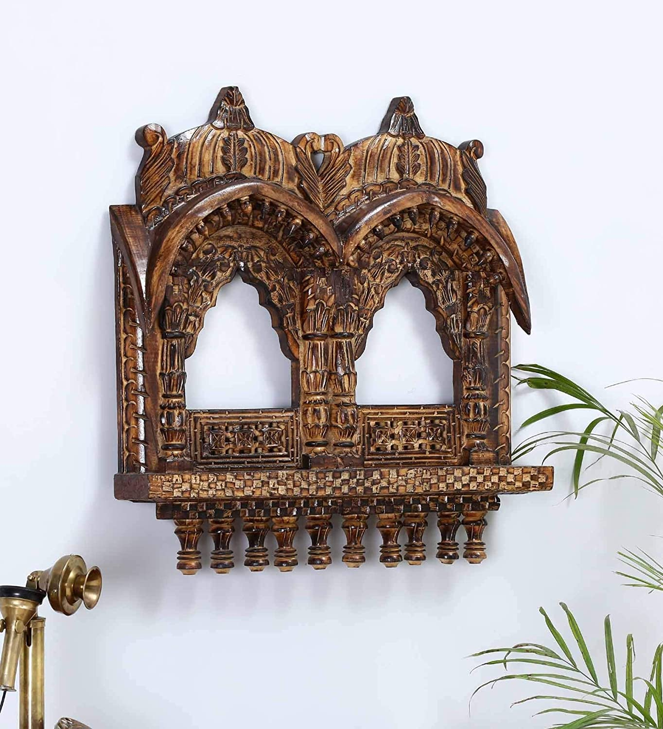 Homas Wooden Jharokha Classic Look Jharokha/Traditional Rajasthani Style Hand-Carved Wooden Jharokha (Brown)