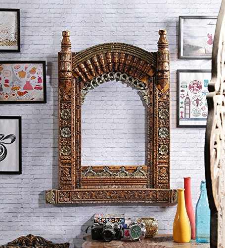 Pozina Wooden Sheesham Wood Admirable Jharokha ,Beautifully hand-painted and hand-carved Rajasthani Style Jharokha Solid Wood with Premium Finishing. Ready to Ship Design Peacock Design with Dual Finish Product