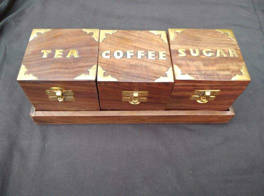 Ahume  Antique Style Tea Sugar Coffee Box/Container with Tray